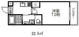阪急神戸本線 六甲駅 徒歩10分の賃貸マンション 3階1Kの間取り