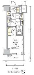 東京メトロ南北線 麻布十番駅 徒歩7分の賃貸マンション 5階1Kの間取り