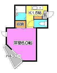 東京都東久留米市氷川台2丁目の賃貸アパートの間取り
