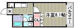 岡山県倉敷市阿知2丁目の賃貸マンションの間取り
