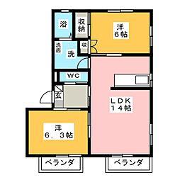 草薙ヒルズ A[2階]の間取り