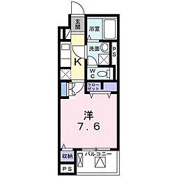 小田急小田原線 相武台前駅 徒歩9分の賃貸マンション 4階1Kの間取り