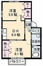 シャーメゾン三石II[A202号室]の間取り