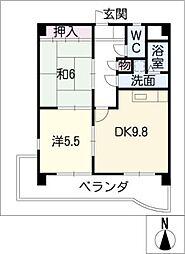 マンション ベルエア[2階]の間取り