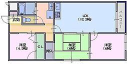 シャトー三島[402号室]の間取り