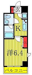 アンベリール西川口弐番館 8階1Kの間取り