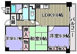 セーヌ東岸和田[103号室]の間取り