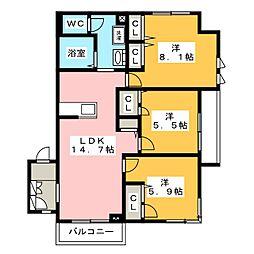 カーサ サンフェリーチェ[2階]の間取り