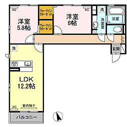 (仮称)D−room沖浜町居屋敷[202号室]の間取り