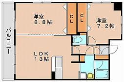 ハイネスエミュ21[8階]の間取り