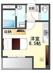 Osaka Metro中央線 阿波座駅 徒歩3分の賃貸マンション 2階ワンルームの間取り