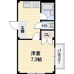 佃コーポII[105号室]の間取り