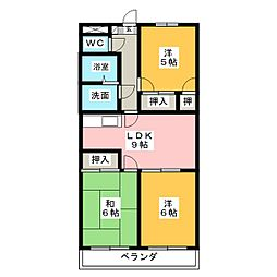 ファミール西浜田 北館[1階]の間取り