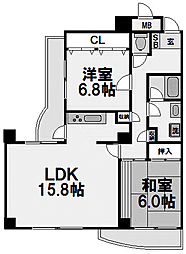 グランツ新大阪[6階]の間取り