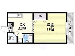 阪急千里線 関大前駅 徒歩5分の賃貸マンション 1階1DKの間取り