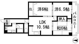 兵庫県宝塚市高司4丁目の賃貸マンションの間取り