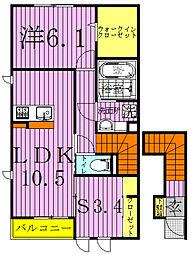 千葉県柏市南増尾2丁目の賃貸アパートの間取り