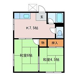 コーポ橋本[1階]の間取り