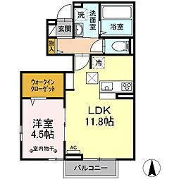 Haru Haru I 1階1LDKの間取り
