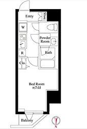 JR山手線 浜松町駅 徒歩3分の賃貸マンション 2階1Kの間取り