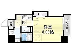 ドゥエリングASAHI 10階1Kの間取り