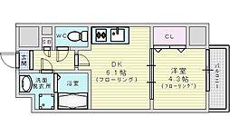 Osaka Metro御堂筋線 江坂駅 徒歩15分の賃貸マンション 6階1DKの間取り