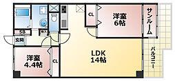 ジークレフ赤坂[2階]の間取り