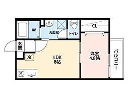 愛知県名古屋市北区新堀町の賃貸アパートの間取り