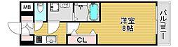 阪神本線 野田駅 徒歩6分の賃貸マンション 6階1Kの間取り