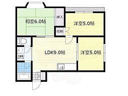 阪急神戸本線 神崎川駅 徒歩13分の賃貸マンション 2階3LDKの間取り