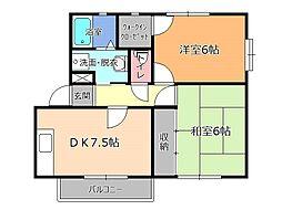 栃木県塩谷郡高根沢町光陽台2丁目の賃貸アパートの間取り