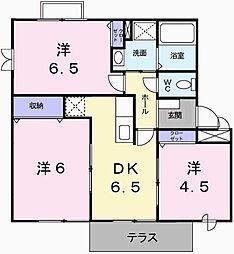 兵庫県姫路市飾磨区中島629の賃貸アパートの間取り