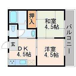 岡本ハイツ[2階]の間取り