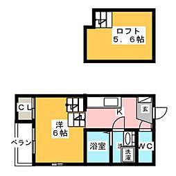 愛知県名古屋市中村区烏森町7の賃貸アパートの間取り