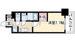 プレサンスジェネ葵 8階1Kの間取り