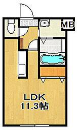 北海道恵庭市黄金中央3丁目の賃貸マンションの間取り