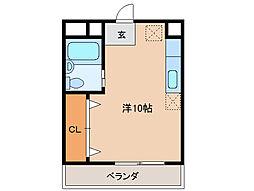 宮町OZビル 3階ワンルームの間取り