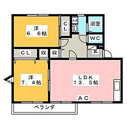 ピュアタウン A棟[1階]の間取り
