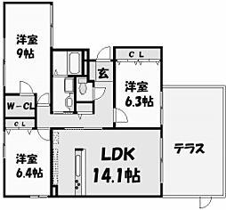 兵庫県西宮市安井町の賃貸マンションの間取り