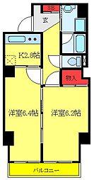 JR埼京線 板橋駅 徒歩5分の賃貸マンション 5階2Kの間取り