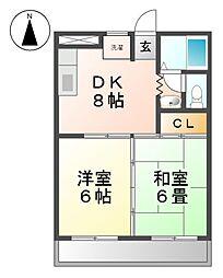 シティマンション イワタ[1階]の間取り