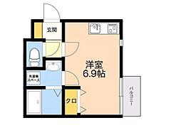 (仮称)箱崎4丁目新築アパート 2階ワンルームの間取り