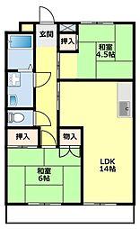 愛知県豊田市若宮町8丁目の賃貸マンションの間取り