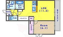 JR東海道・山陽本線 向日町駅 徒歩7分の賃貸アパート 3階1LDKの間取り