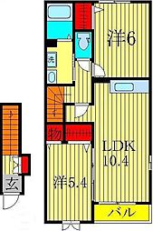 千葉県柏市緑ヶ丘の賃貸アパートの間取り