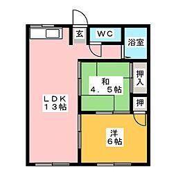 パークハイツ杁ヶ島[1階]の間取り