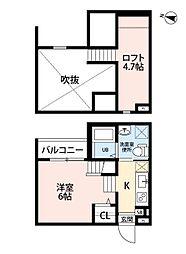 愛知県名古屋市中村区烏森町7丁目の賃貸アパートの間取り