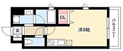 アルカディアZ 5階ワンルームの間取り