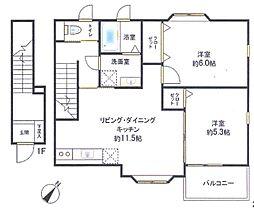 フリーレント1ヵ月 都賀駅より徒歩10分のお部屋です[2階]の間取り