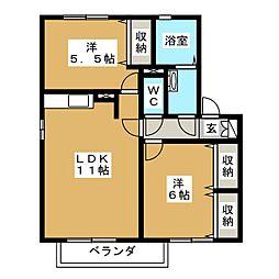 クレール・ドゥマンB[2階]の間取り